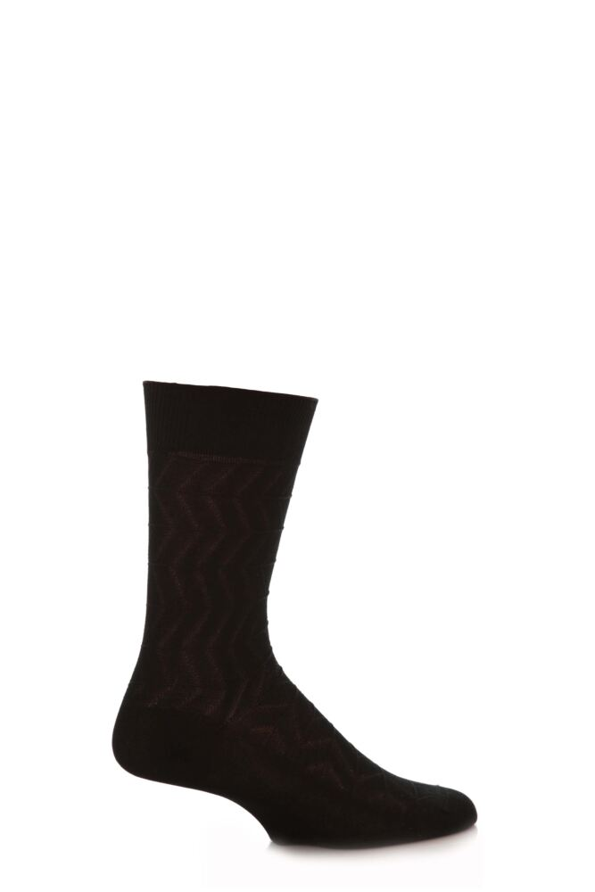 Mens 1 Pair SockShop Zig Zag Rib Mercerised Cotton Socks