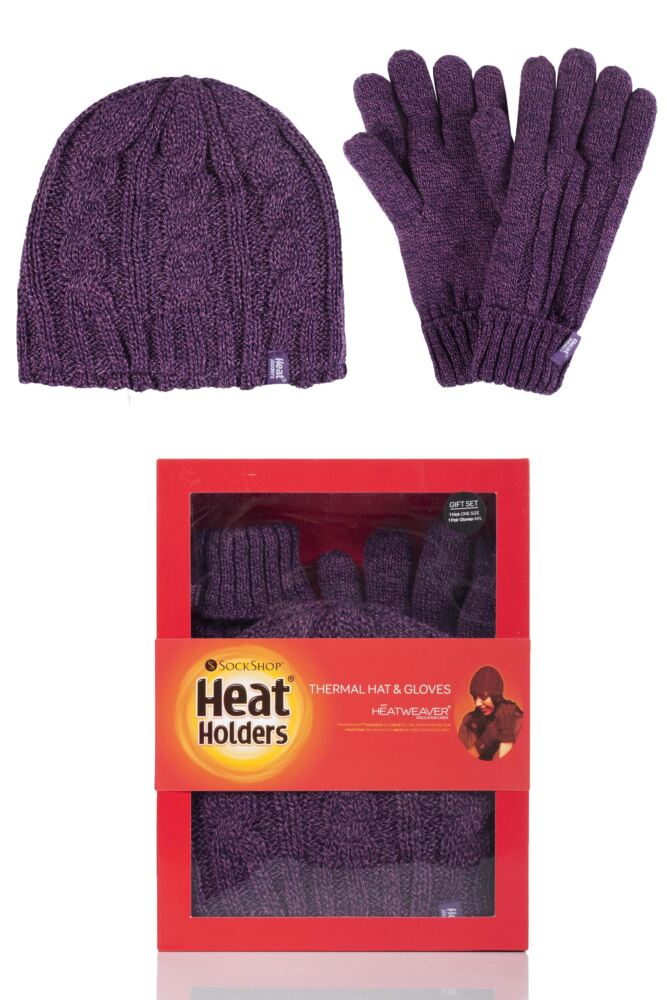 Ladies 2 Pack Heat Holders Gift Boxed Hat and Gloves Set