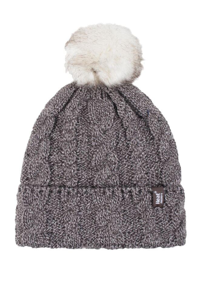 Ladies 1 Pack Heat Holders Heat Weaver Cable Knit Pom Pom Hat