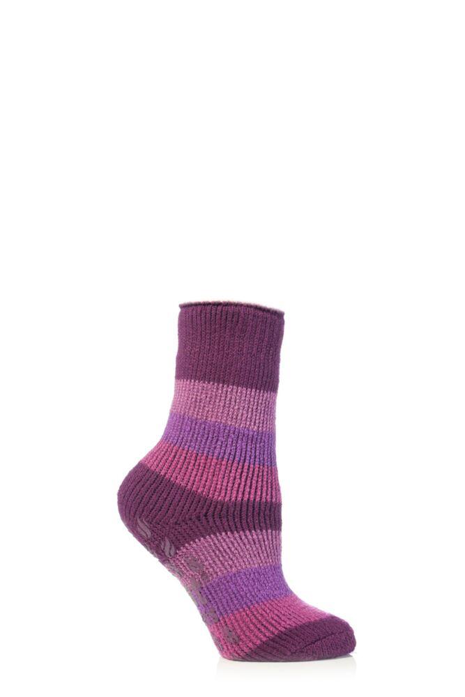 Kids 1 Pair SockShop Striped Slipper Heat Holders Size 9-12 Socks