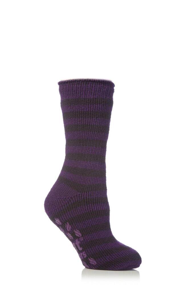 Kids 1 Pair SockShop Striped Slipper Heat Holders Size 4-5.5 Socks