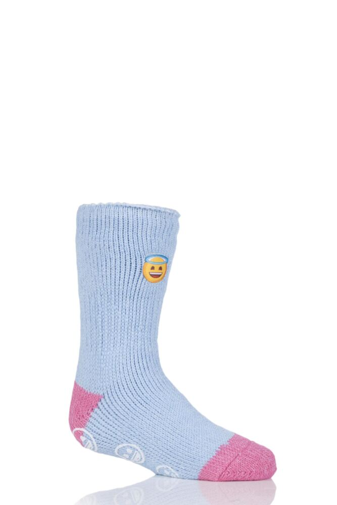 Kids 1 Pair SockShop Heat Holders Emoji Angel Face Slipper Socks