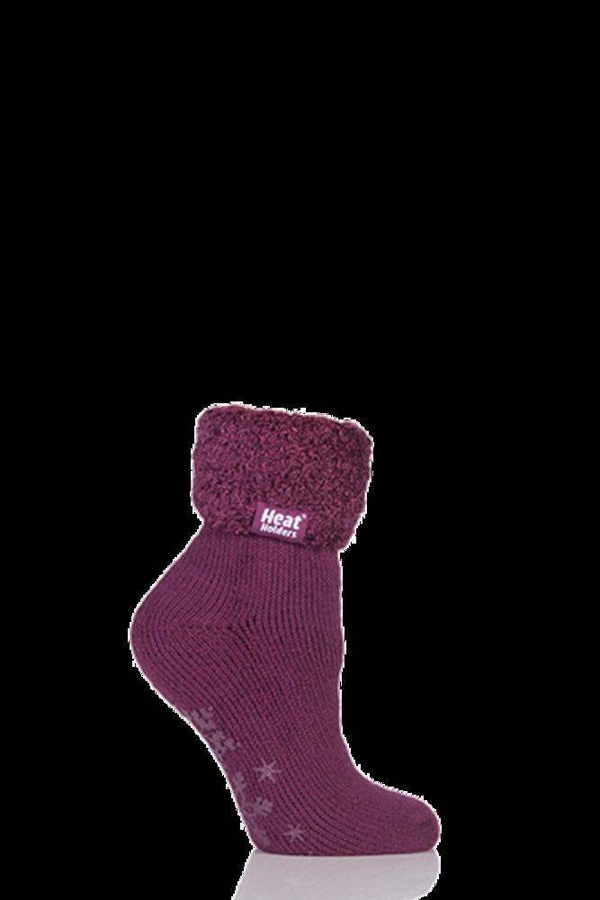 SockShop Heat Holders 2.3 TOG Thermal Lounge Socks Plum