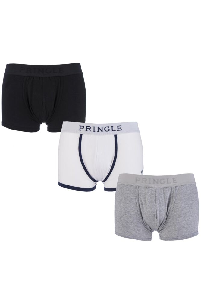 Mens 3 Pack Pringle Plain Cotton Boxer Shorts In Black, White and Grey