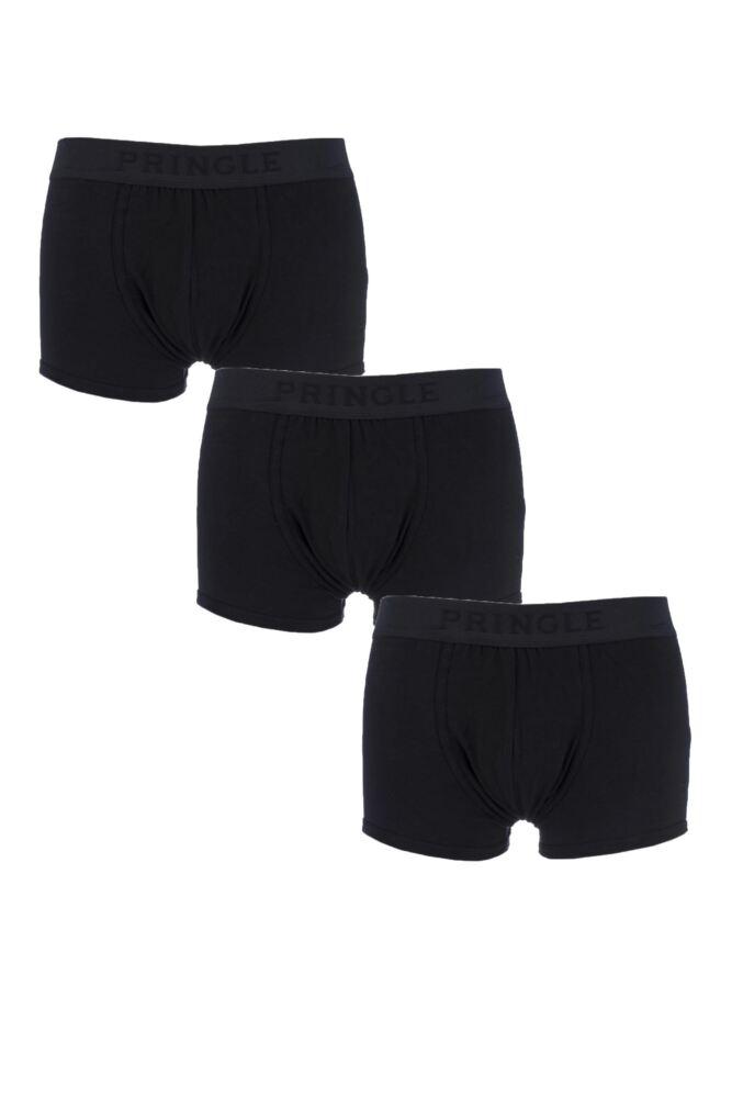 Mens 3 Pack Pringle Plain Cotton Boxer Shorts In Black