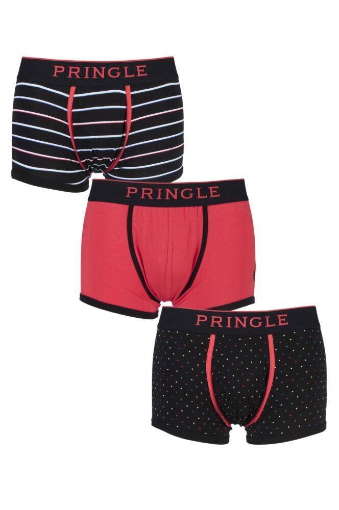 Mens 3 Pack Pringle Black Label Plain, Stripe and Spot Red Cotton Boxer Shorts