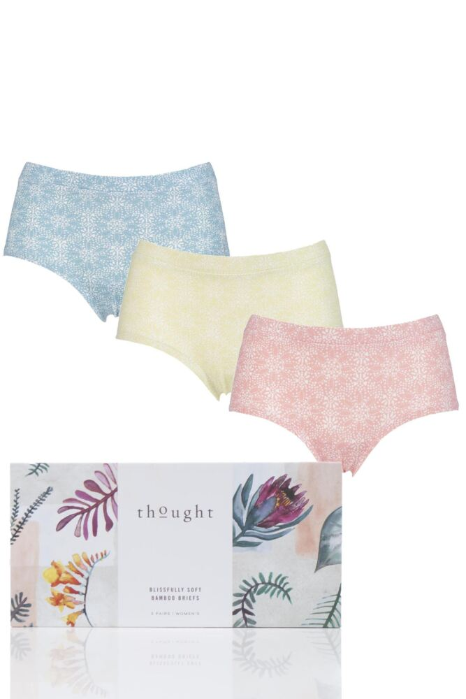 Ladies 3 Pair Thought Melissa Leaf Print Bamboo and Organic Cotton Briefs in Gift Box