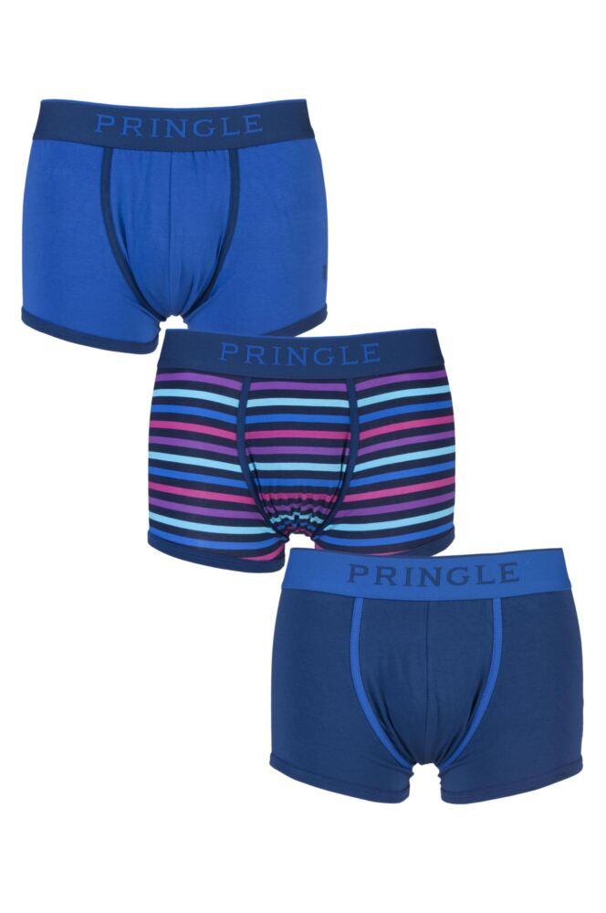 Mens 3 Pack Pringle Black Label Plain and Stripe Blue Cotton Boxer Shorts