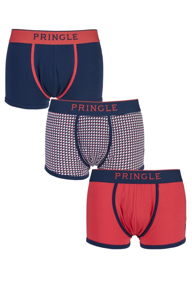 Mens 3 Pair Pringle Black Label Plain and Check Trunks