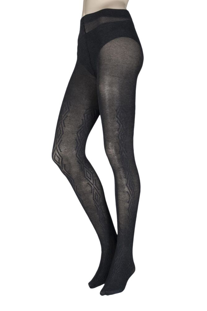 Ladies 1 Pair Charnos Chunky Cotton Cable Knit Tights