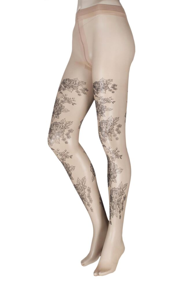 Ladies 1 Pair Trasparenze Cardo Floral Tattoo Effect Tights