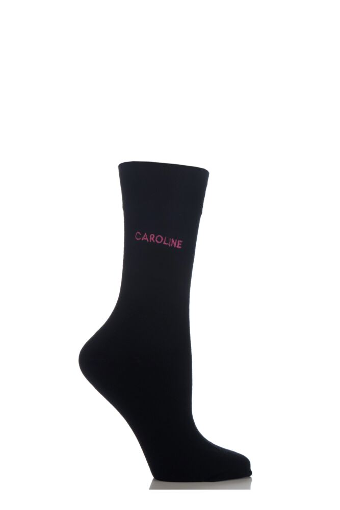 Ladies 1 Pair SockShop Individual Names Black Embroidered Socks - 16 Names To Choose From