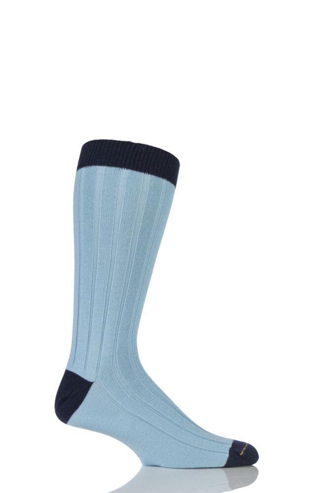 Mens 1 Pair SockShop of London 85% Cashmere Contrast Top Heel and Toe Ribbed Long Calf Socks