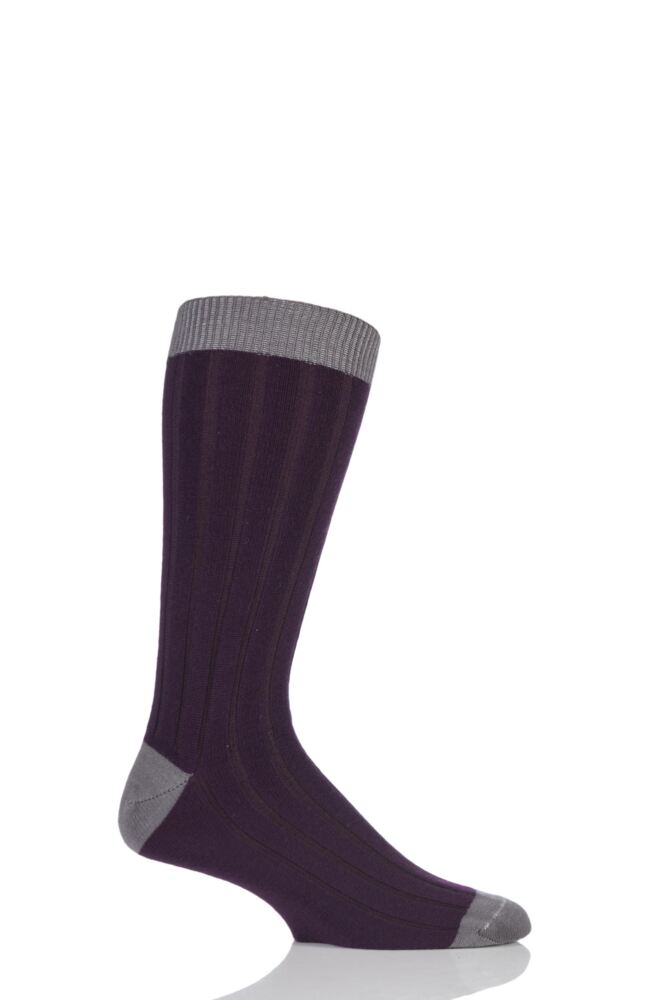 Mens 1 Pair SockShop of London 85% Cashmere Contrast Top Heel and Toe Ribbed Long Calf Socks