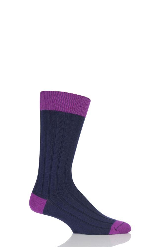 Mens 1 Pair SockShop of London 85% Cashmere Contrast Top Heel and Toe Ribbed Socks