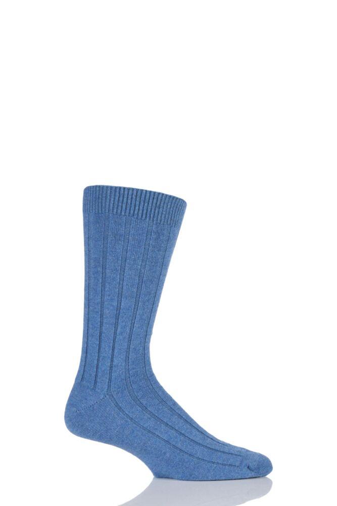 Mens 1 Pair SockShop of London 85% Cashmere Plain Ribbed Mid Weight Socks