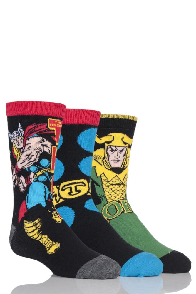 Kids 3 Pair SockShop Marvel Thor and Loki Cotton Socks