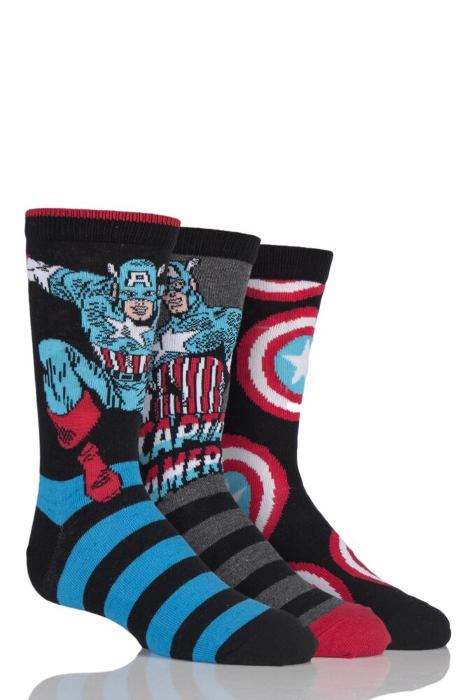 Kids 3 Pair SockShop Marvel Captain America Mix Cotton Socks