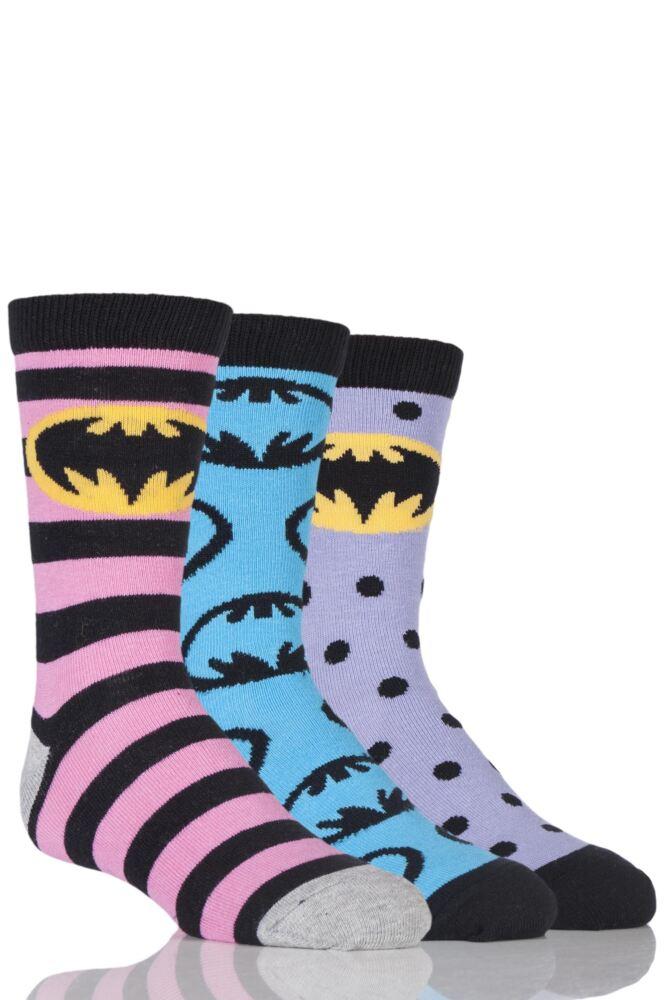 Girls 3 Pair SockShop Batman / Batgirl Striped, Spotty and All Over Motif Cotton Socks