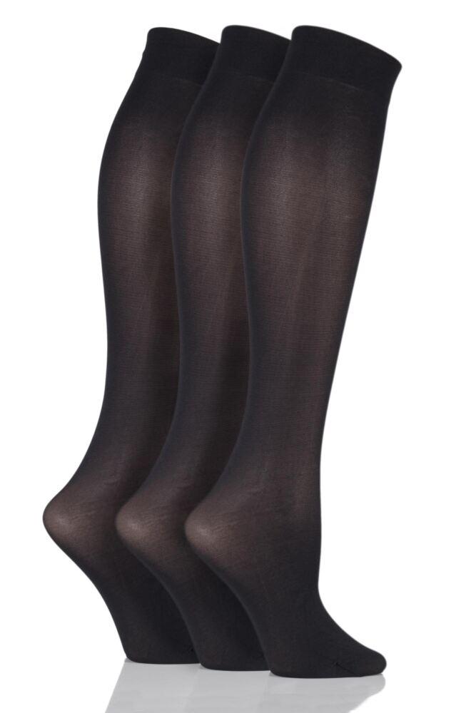 Ladies 3 Pair Charnos 40 Denier Knee Highs With Comfort Top