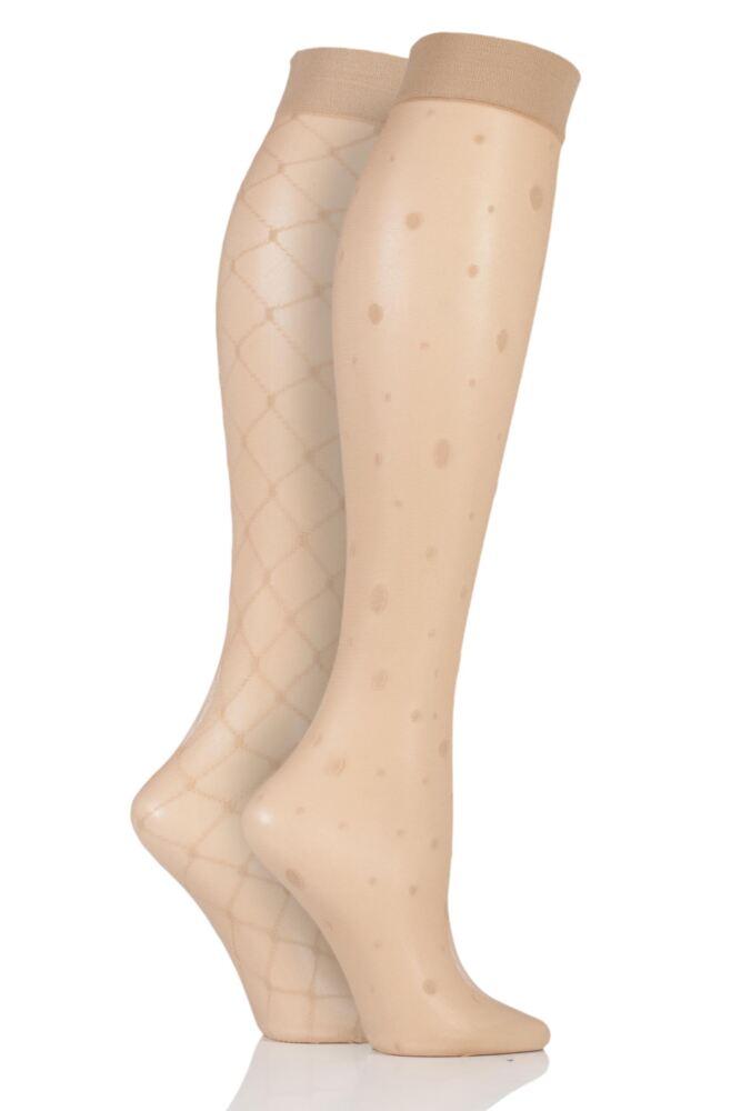 Ladies 2 Pair Charnos 15 Denier Fishnet and Spot Trouserwear Knee Highs