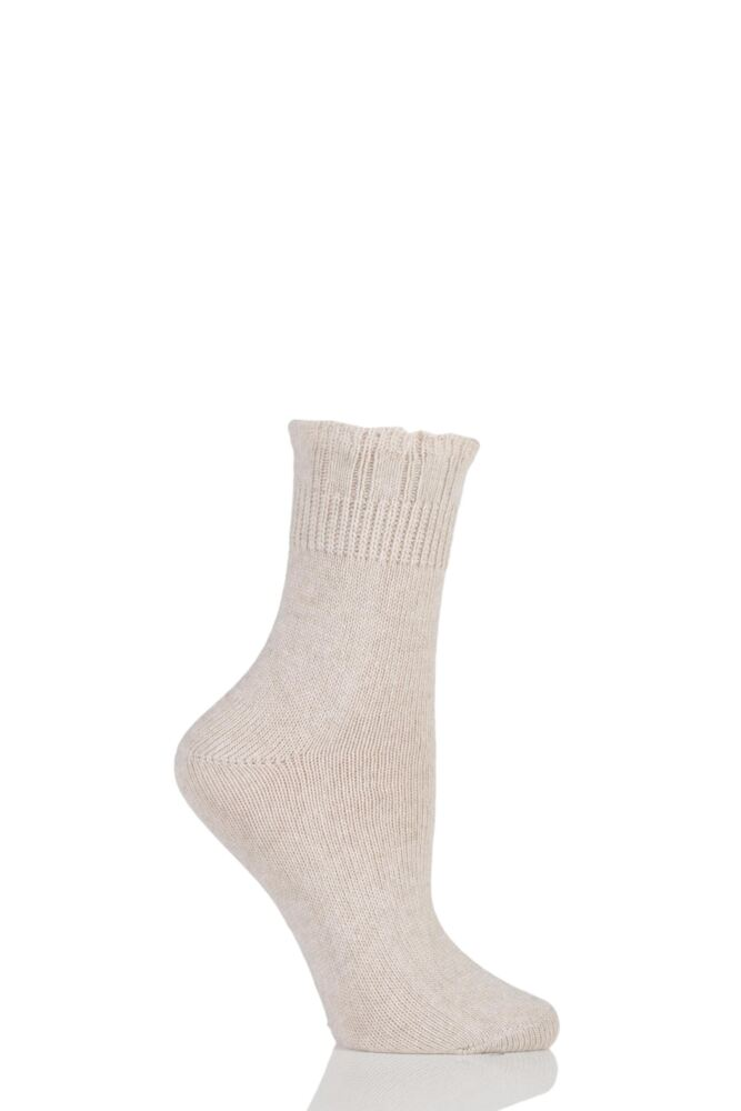 Ladies 1 Pair Charnos Ruffle Top Wool Cashmere Blend Socks