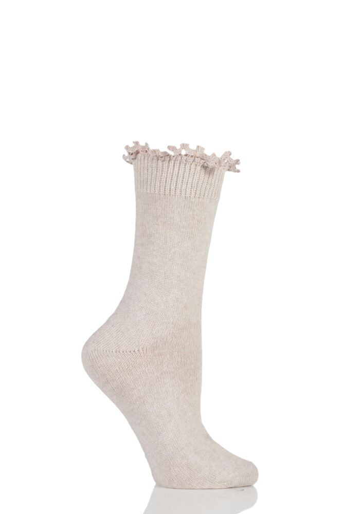 Ladies 1 Pair Charnos Lace Top Wool Cashmere Blend Socks