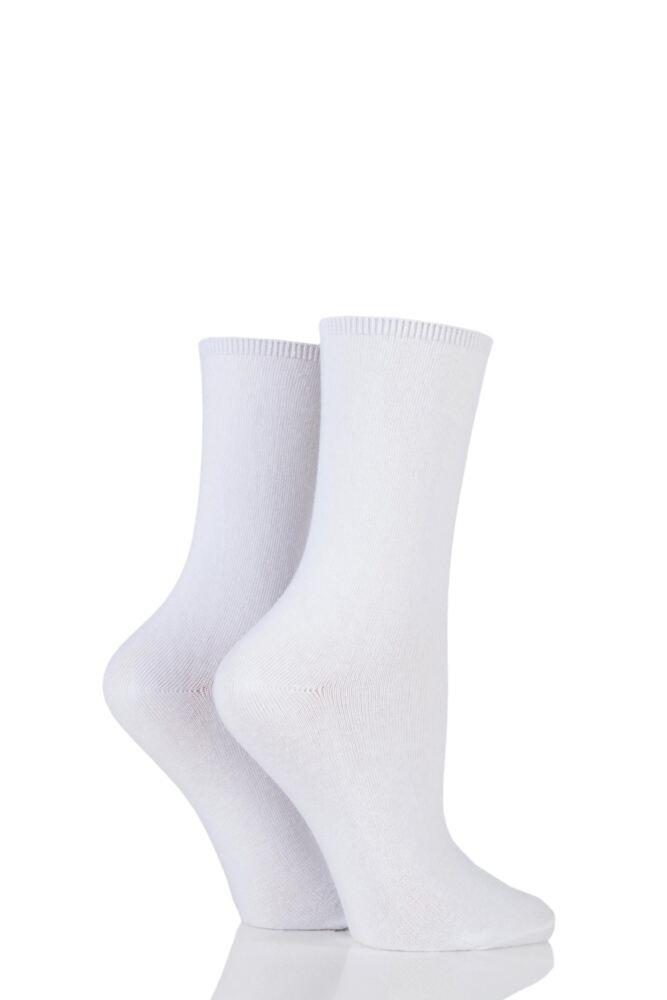 Ladies 2 Pair Charnos Comfort Top Crew Socks