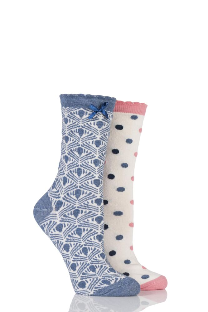 Ladies 2 Pair Charnos Spot and Geo Design Cotton Socks 25% OFF