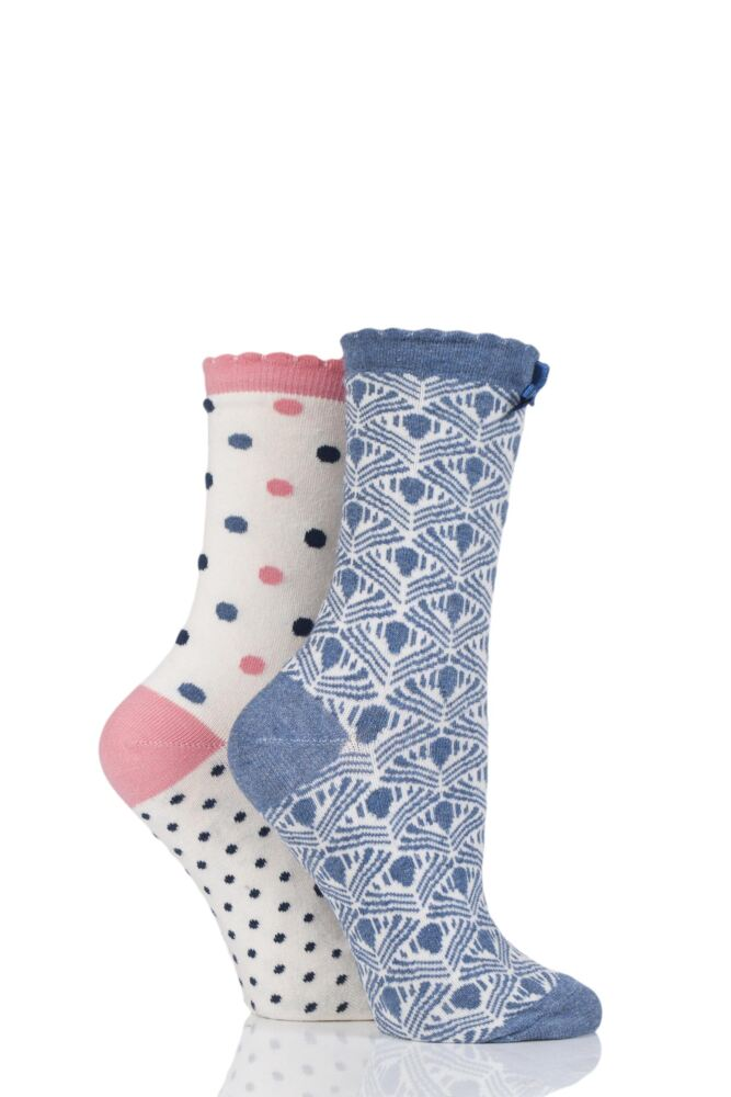 Ladies 2 Pair Charnos Spot and Patterned Cotton Socks