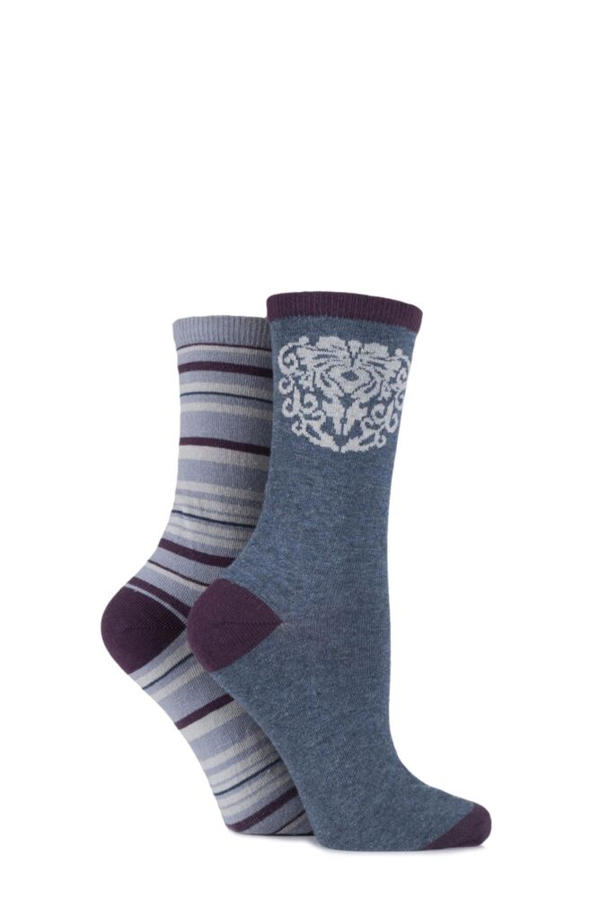 Ladies 2 Pair Charnos Damask Floral and Striped Cotton Socks 25% OFF