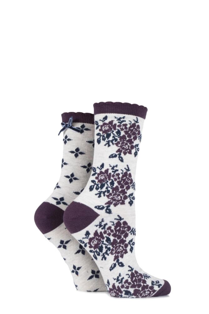 Ladies 2 Pair Charnos Floral and Diamond Spot Cotton Socks 25% OFF