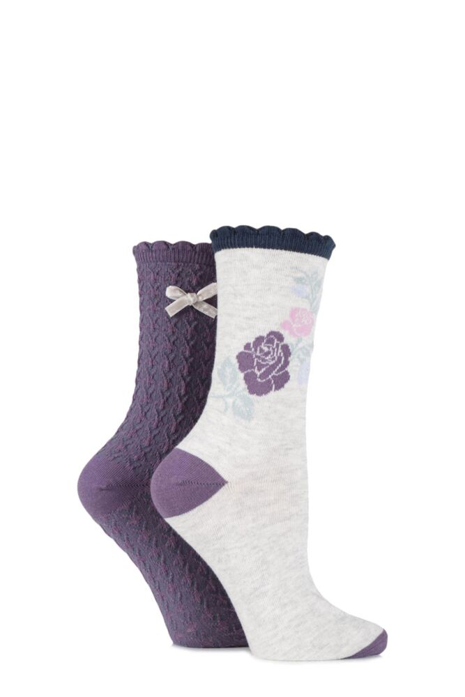 Ladies 2 Pair Charnos Floral and Rose Textured Cotton Socks 25% OFF