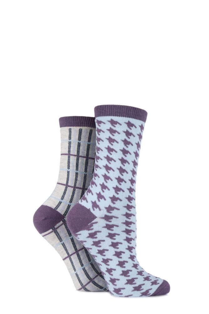 Ladies 2 Pair Charnos Houndstooth and Tartan Cotton Socks 25% OFF