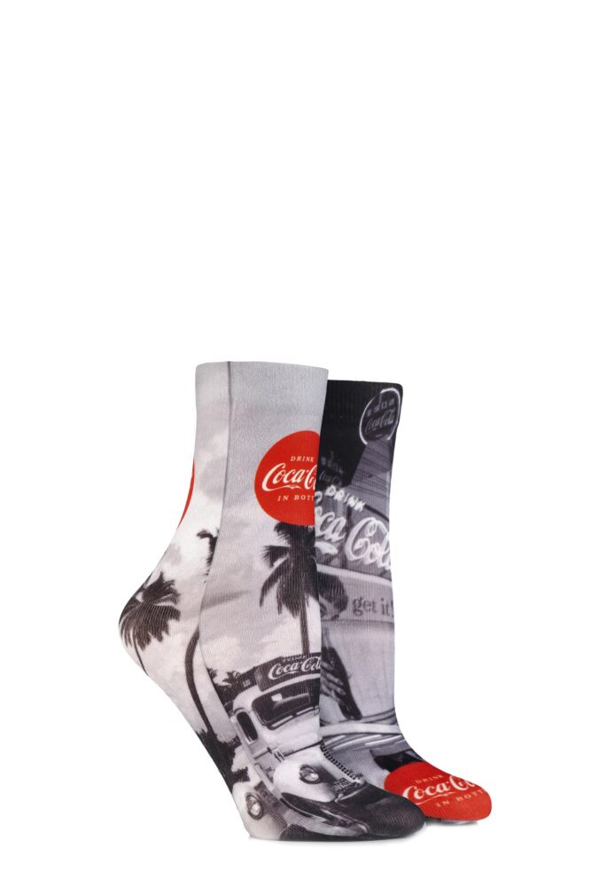 Ladies 2 Pair Coca Cola Vintage Printed Socks