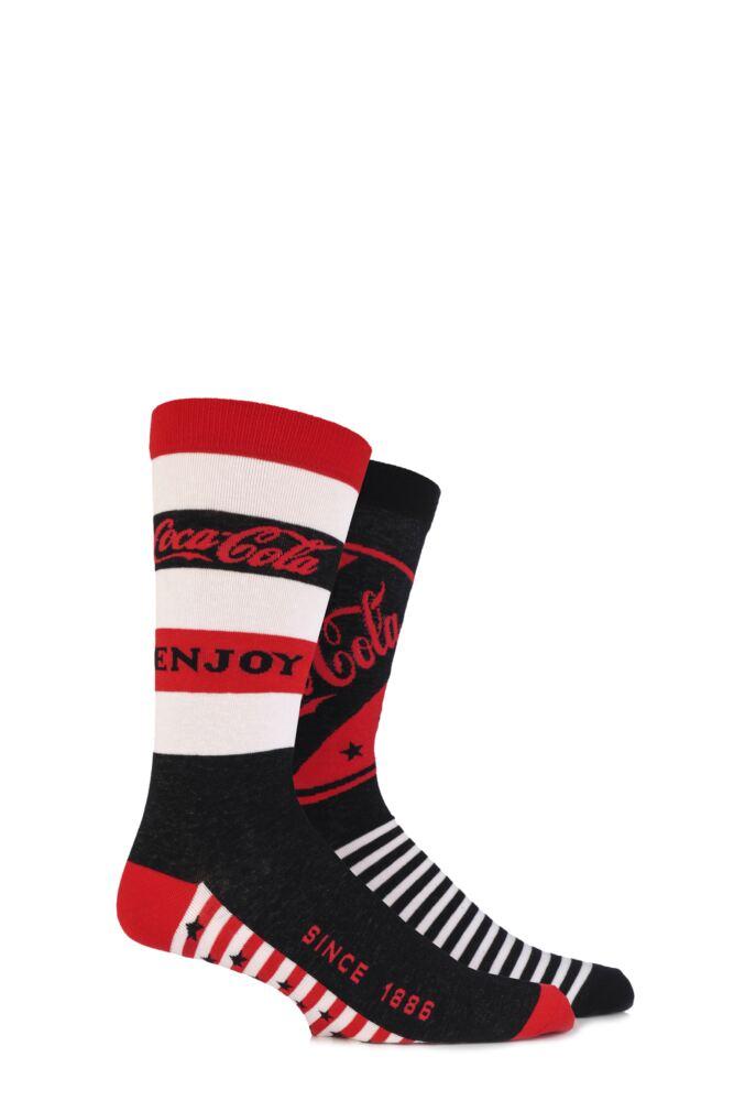 Mens 2 Pair Coca Cola Enjoy Coke True Socks