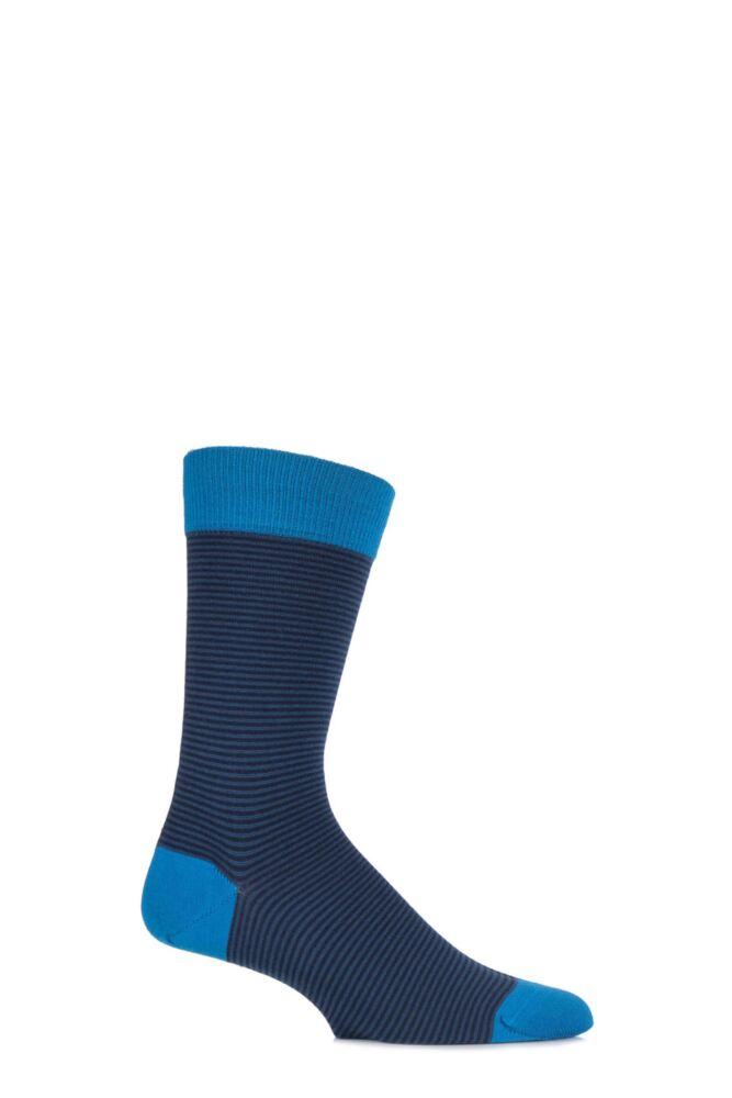 Mens 1 Pair John Smedley Cranmore Merino Wool Striped Socks with Contrast Top
