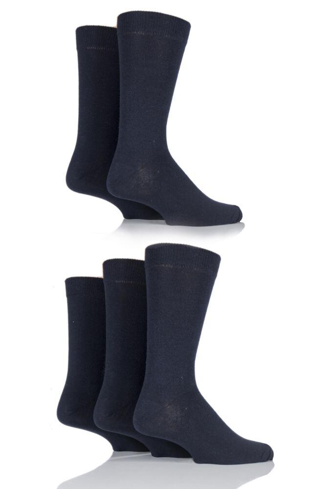 Mens 5 Pair Farah Classic Everyday Plain Jacquard Cotton Socks