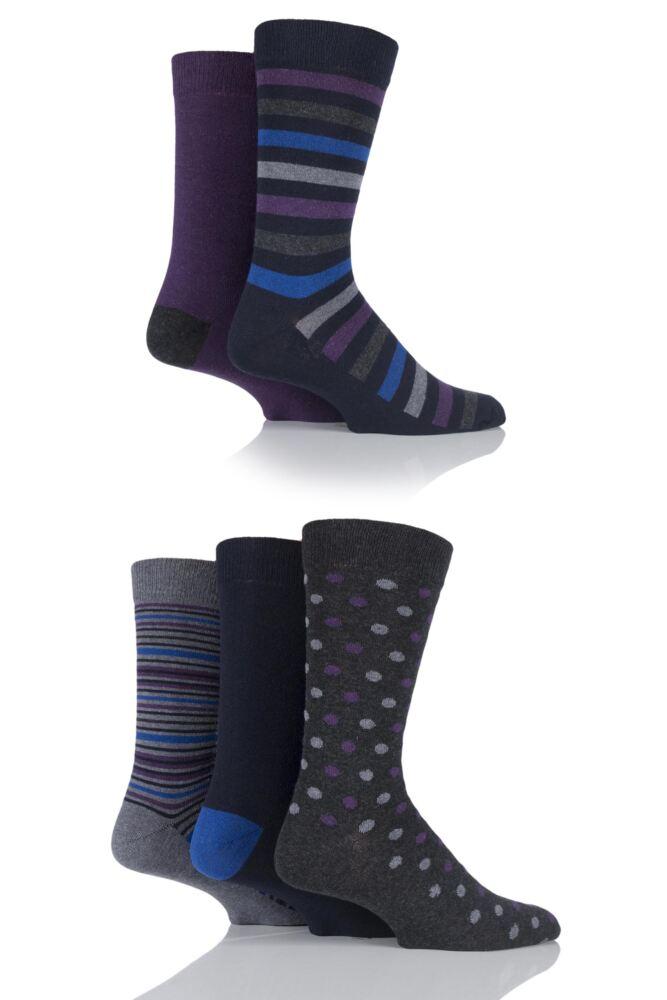 Mens 5 Pair Farah Classic Everyday Patterned Jacquard Cotton Socks