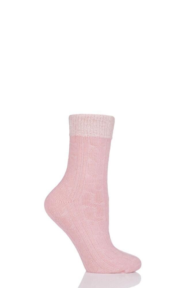 Ladies 1 Pair Glenmuir Cable Knit Aloe Vera Infused Fleece Lined Socks