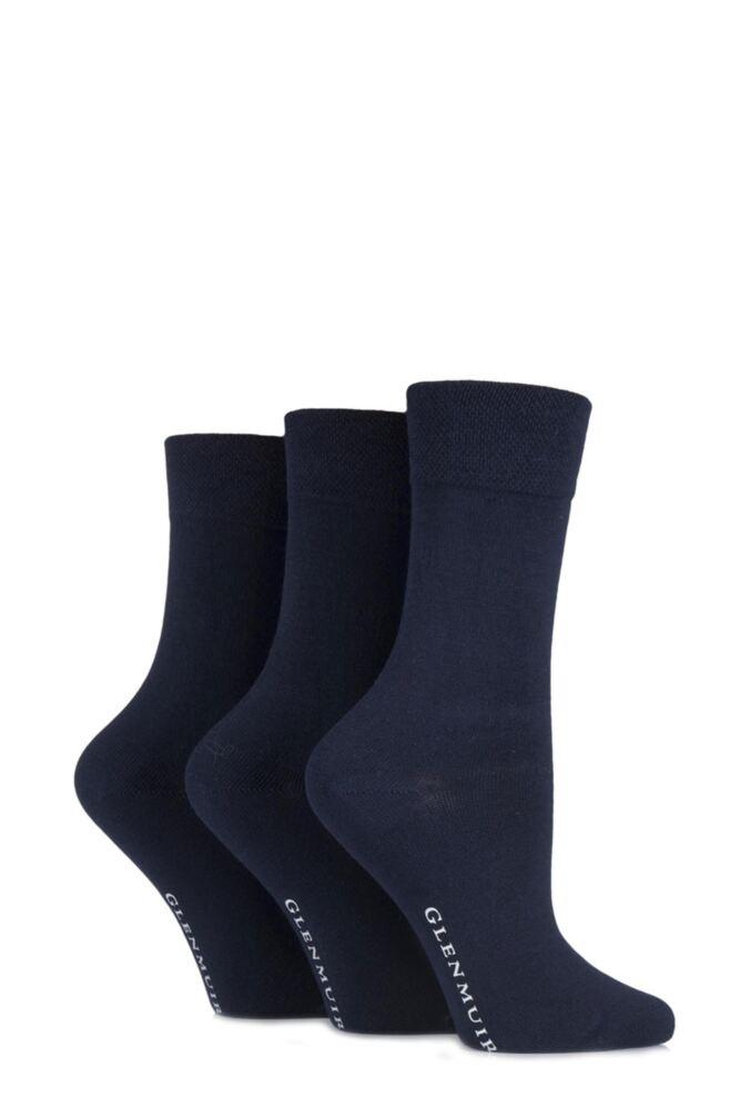 Ladies 3 Pair Glenmuir Comfort Cuff Plain Bamboo Socks