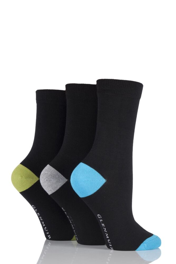 Ladies 3 Pair Glenmuir Classic Plain Bamboo Socks with Contrast Heel and Toe