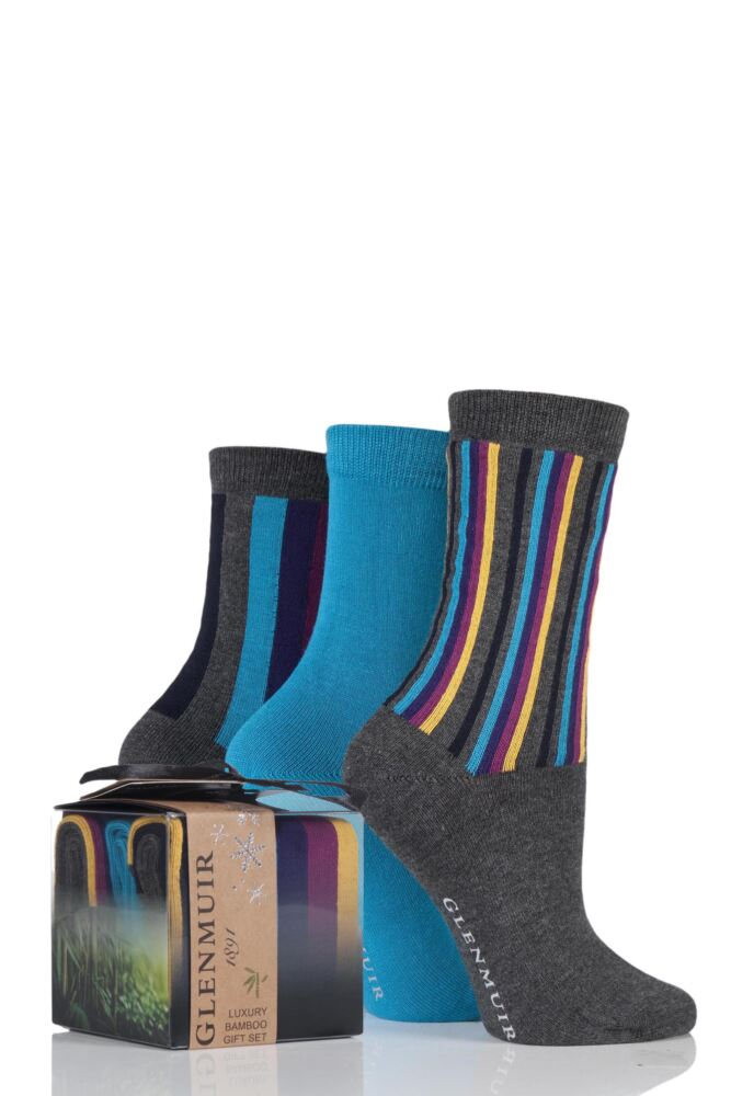 Ladies 3 Pair Glenmuir Vertical Stripe and Plain Bamboo Socks In Gift Box