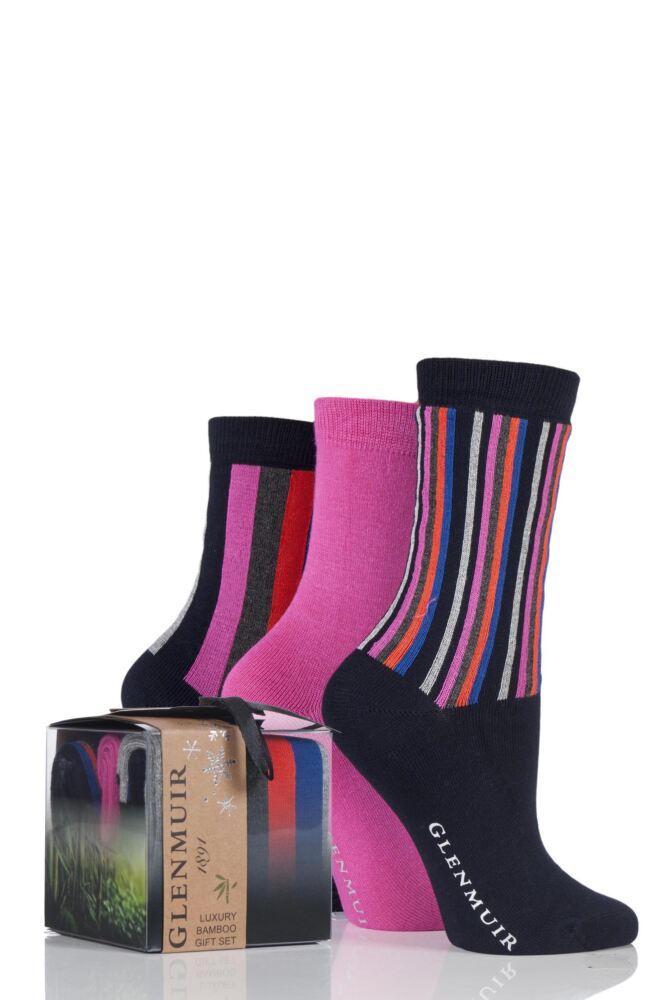 Ladies 3 Pair Glenmuir Vertical Stripe and Plain Bamboo Socks In Gift Box