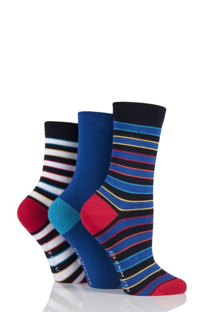 Ladies 3 Pair Glenmuir Dual Stripe and Plain Bamboo Socks