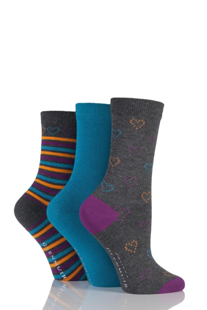 Ladies 3 Pair Glenmuir Plain, Hearts and Striped Bamboo Socks