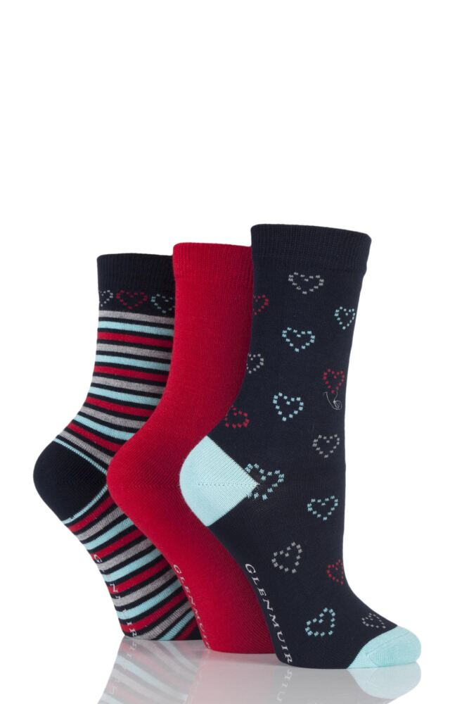 Ladies 3 Pair Glenmuir Plain, Hearts and Striped Bamboo Socks