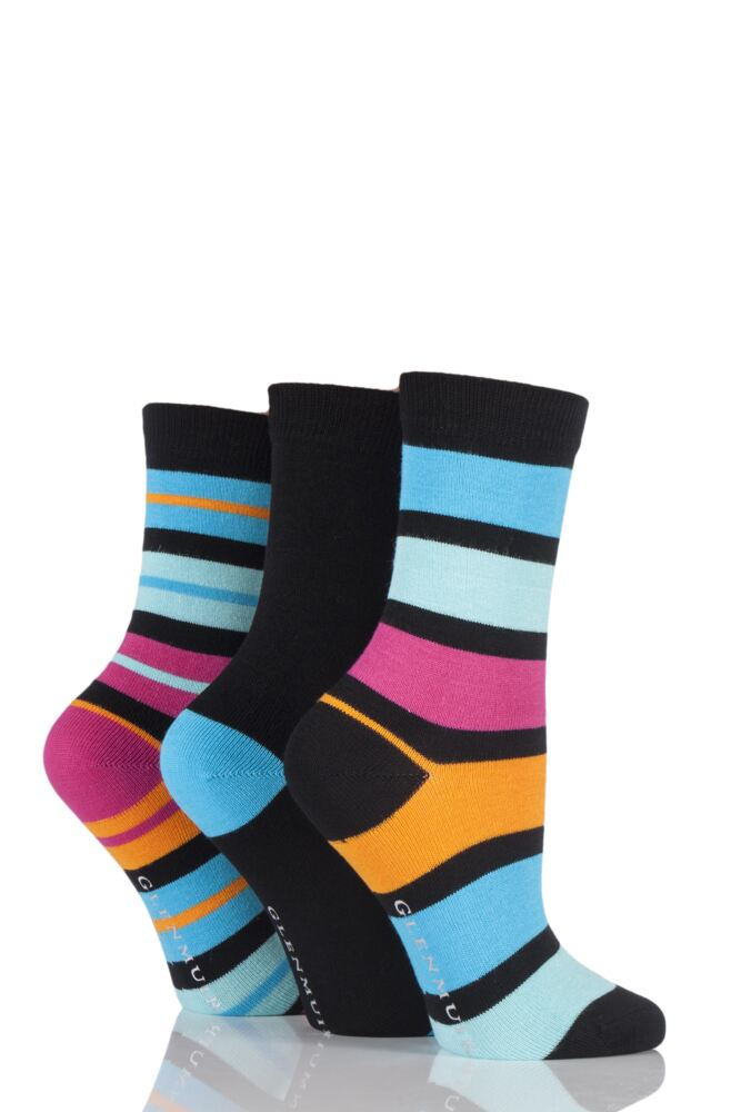Ladies 3 Pair Glenmuir Mixed Striped and Plain Bamboo Socks