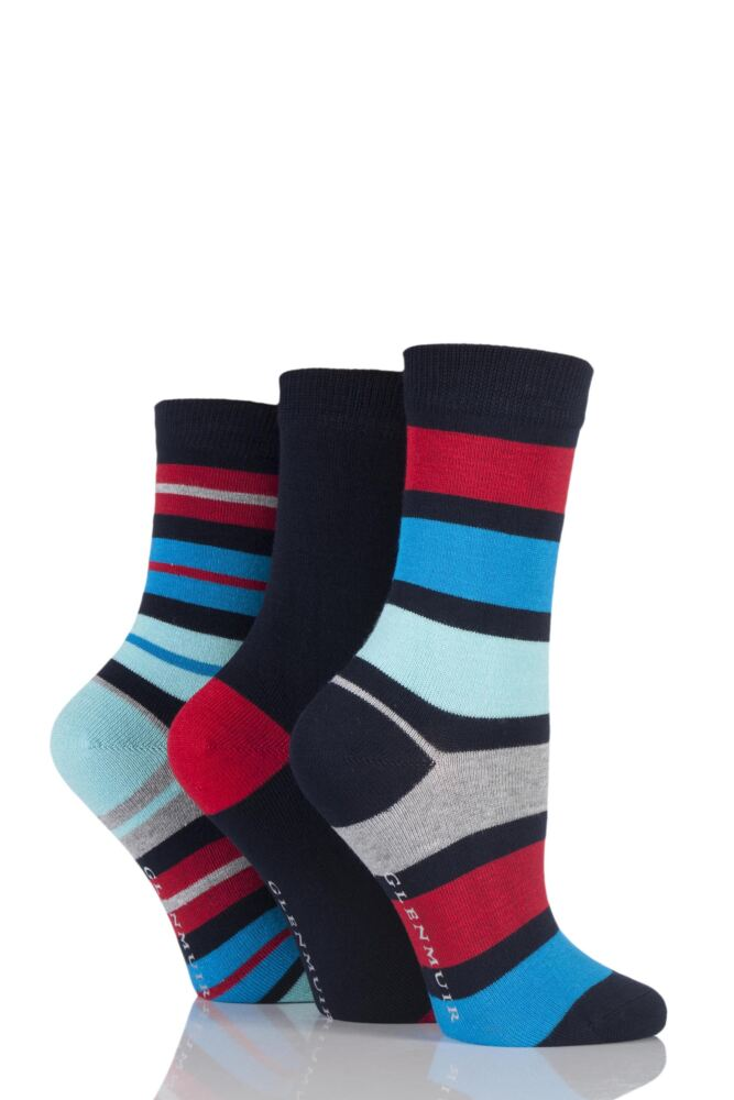 Ladies 3 Pair Glenmuir Mixed Striped and Plain Bamboo Socks