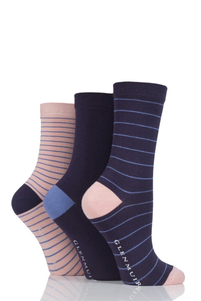 Ladies 3 Pair Glenmuir Fine Stripe Contrast Heel and Toe Bamboo Socks